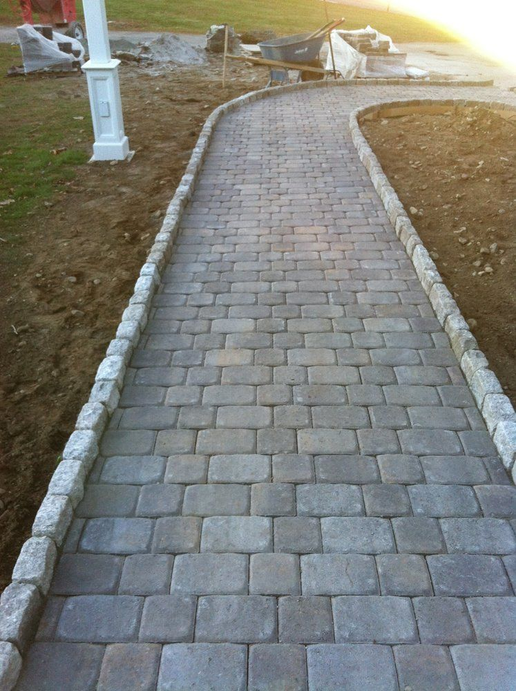 Plan To Install Paver Stones Natural Concrete Color On Edge Of