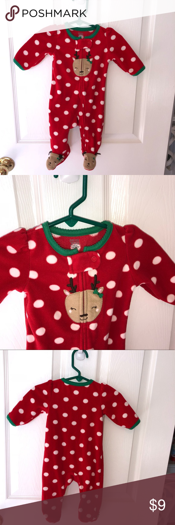 74ec859d7 Carters 3 mo Red Holiday Christmas Reindeer romper Carters 3 month ...