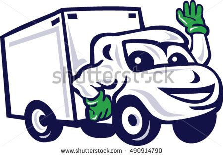 Illustration Of A Closed Delivery Van Truck Waving Viewed From