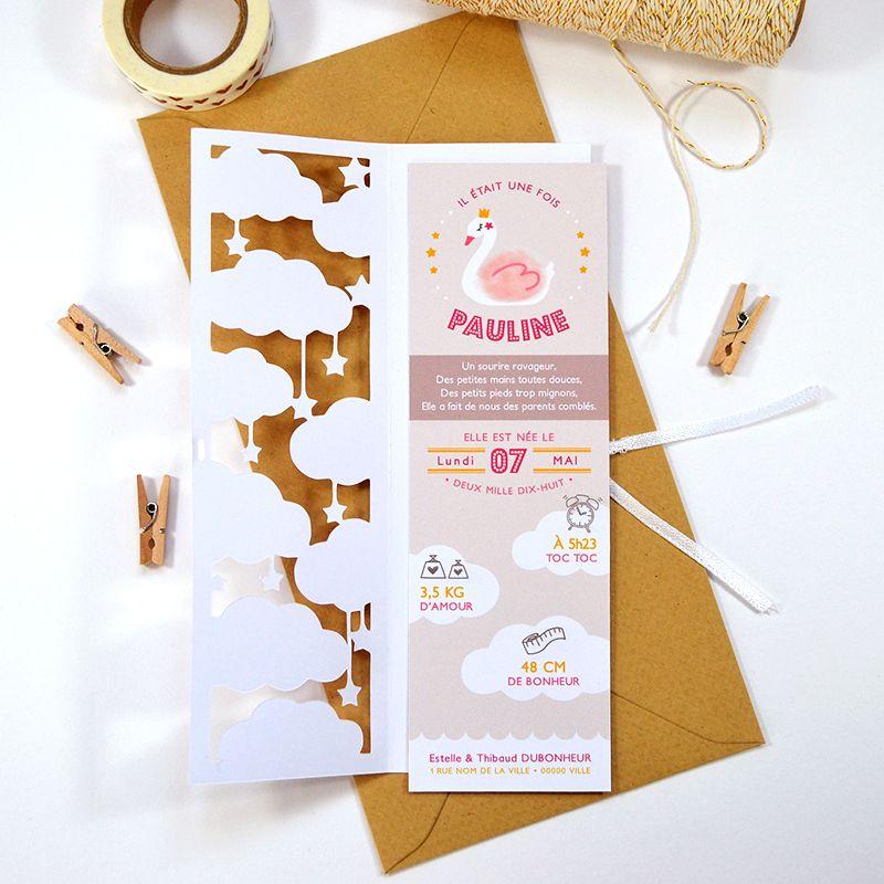 Birth Announcement Swan, Birth Announcement Girl, Custom Announcement, Announcement Birth, Baptism, Bookmark Page, Cloud, Stars