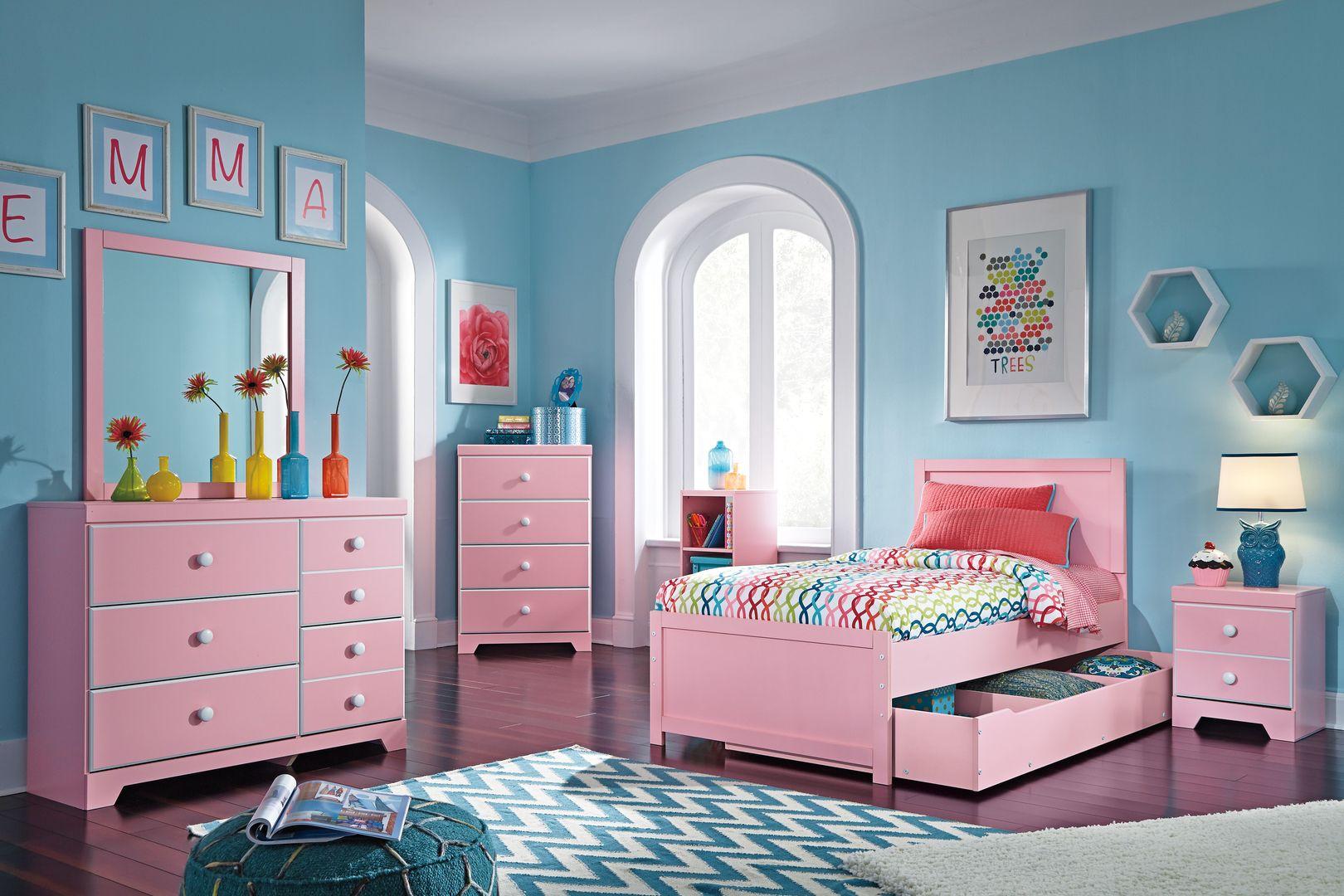 kamar tidur anak perempuan set lengkap warna pink, set kamar anak