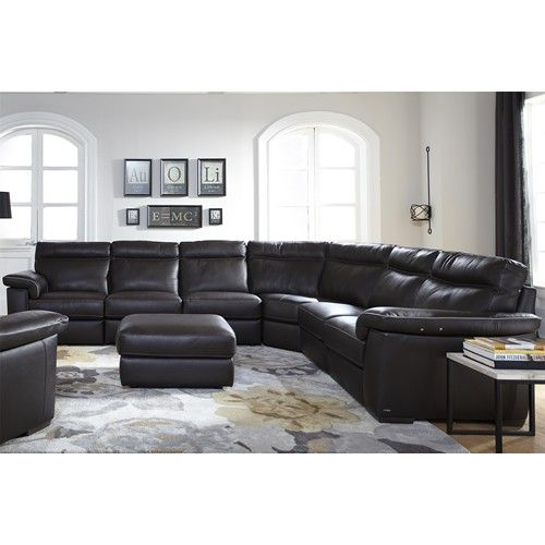 B757 Four Piece Power Reclining Sectional Sofa With Padded Headrests By  Natuzzi Editions