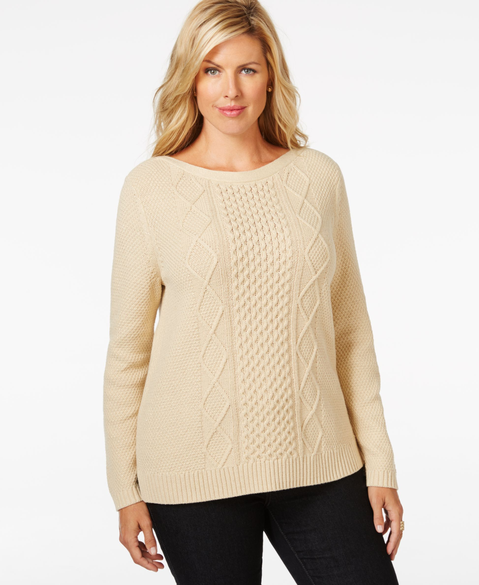 Karen Scott Plus Size Cable-Knit Sweater, Only at Macy's | OUT OF ...