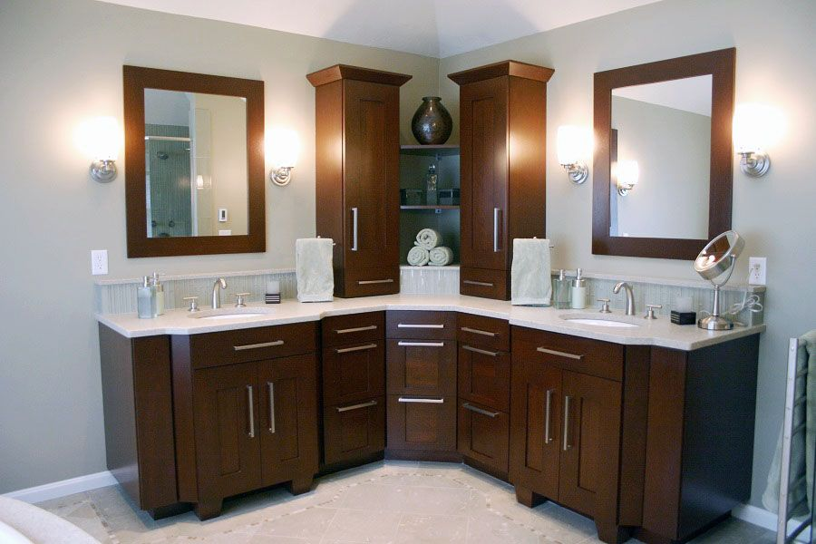 Cherry Wood Bathroom Large Corner Vanity With Two Wall Cabinets And Nine Drawers For Storage Wood Bathroom Bathroom Corner Cabinet Bathroom Remodel Pictures