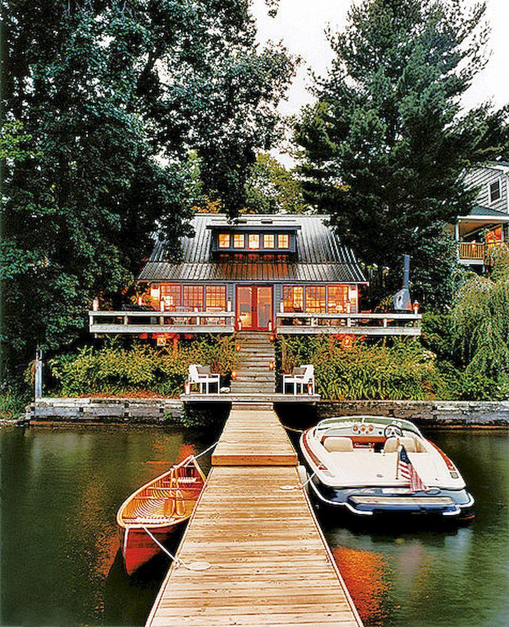House · Adorable 65 Beautiful Lake House Exterior Design Ideas ...