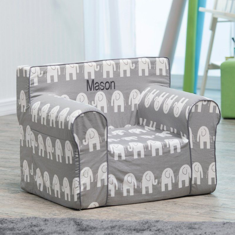 Here And There Personalized Kids Chair   Gray Elephant Dark Gray   61270P 3