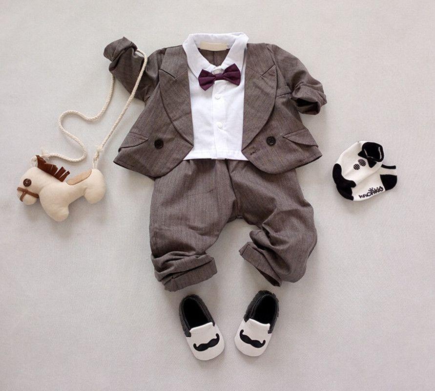 2016 New Baby formais ternos 2 pcs arco laço Outfits + calças listradas  infantil Set roupas senhores recém nascido meninos da festa de casamento  terno em ... 62327a369ce