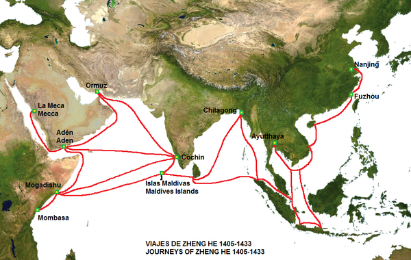 The route of the voyages of Zheng He's fleet. | 鄭和下西洋 Seven on columbus route map, leif ericsson route map, leif ericson route map, marco polo route map, vasco da gama route map, giovanni da verrazzano route map, martin frobisher route map, roald amundsen route map, john cabot route map, ibn battuta route map, silk road route map, desoto route map, eric the red route map, hernan cortes route map, henry hudson route map, leif erikson route map, dias route map, magellan route map, hernando de soto route map, mansa musa route map,
