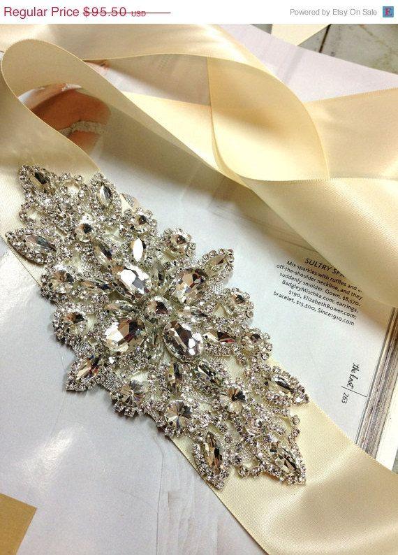 Bridal sash crystal sash ribbon sash vintage by GlamDuchess, $66.85