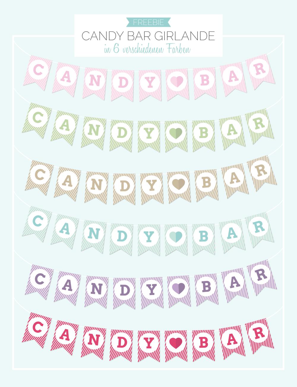 Vorlage Candy Bar Girlande in rosa, hellgrün, beige, blau, lila ...