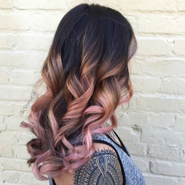 23 Trendy Rose Gold Hair Color Ideas | Rose gold balayage ...
