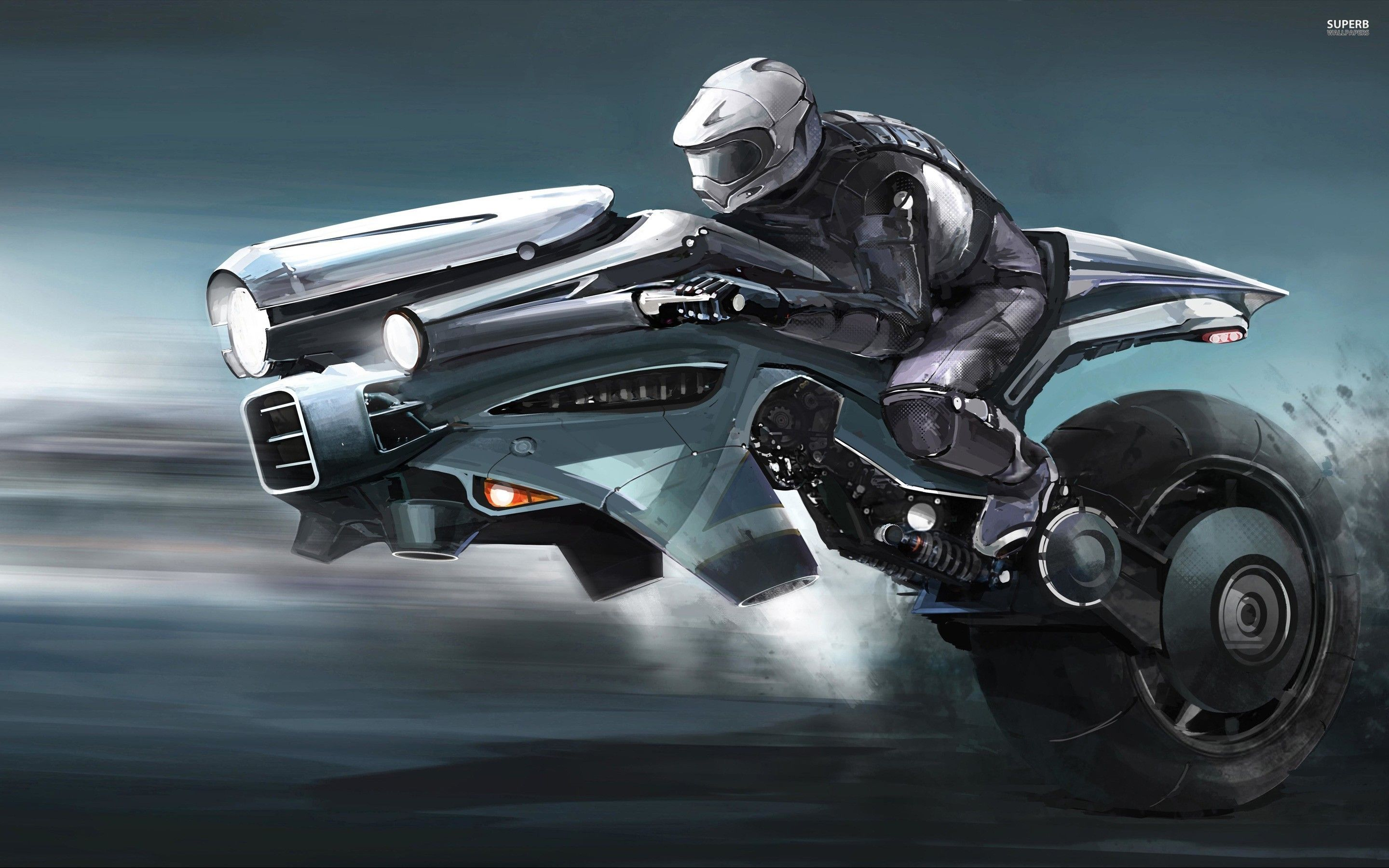 future flying motorcycles riding the futuristic bike | future