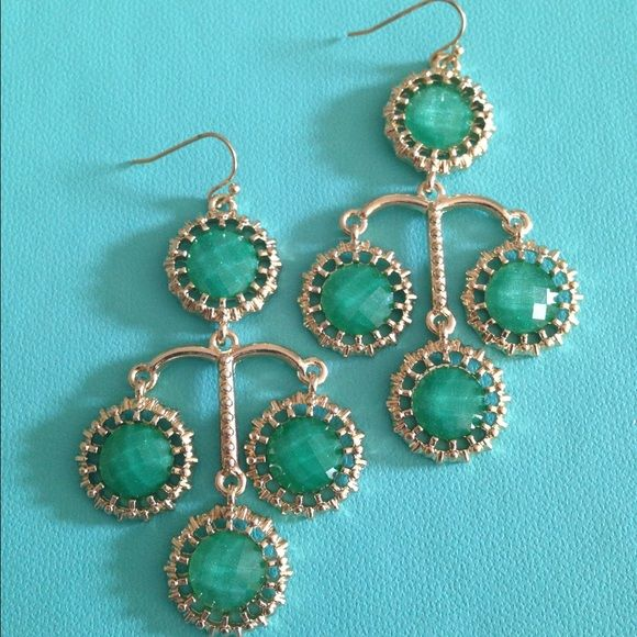 Emerald Green and Gold Fashion Earrings Emerald Green and Gold Fashion Earrings Jewelry Earrings