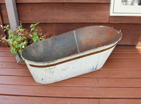 Attirant Antique Tin Baby Bathtub Vintage Baby Bath By PineSpringsCottage
