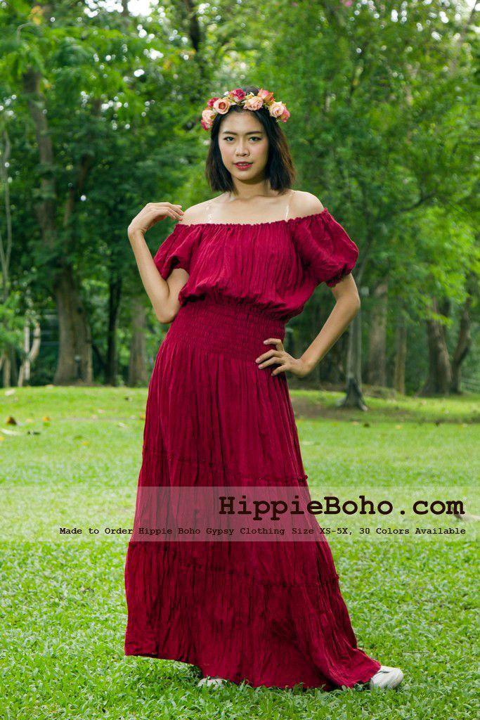 No022 Bohemian Red Dress Plus Size Hippie Dress Gypsy Dress