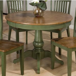 Jofran Vintage Green 42 Inch Round Dining Table Painted Dining