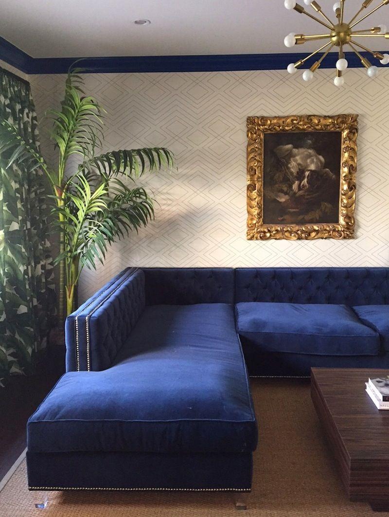 Tv Room Progress Dreamy Blue Sectional And Banana Leaf Drapery