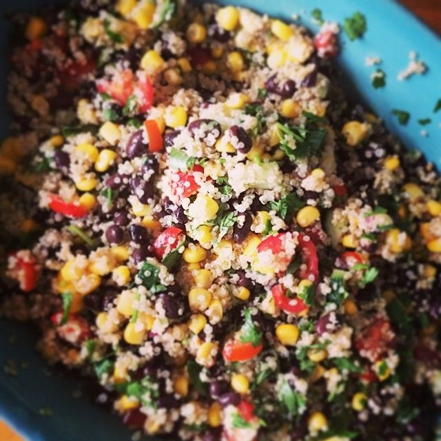 Mexican quinoa salad: take 1C uncooked quinoa and rinse it off. Put in a pot and add 1.5C water or vegetable broth. Bring to a boil and then let simmer until the water is absorbed. Fluff, put in a large salad bowl and let it cool in the fridge. Rinse off black beans and corn and add to the cooled quinoa. Then chop up tomatoes, cucumber, onion, jalapeño, cilantro & avocado. Squeeze lots of lime on top, add some olive oil, S&P, cumin, hot sauce and enjoy. #healthfoodsnob