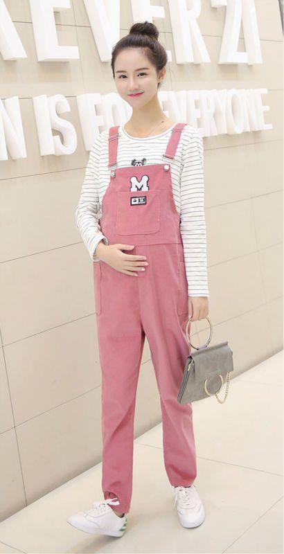 419194db98288 Women's Corduroy Overall Maternity Jumpsuit Loose Rompers Baggy Pants  Pregnancy Bib panties Size L XL XXL
