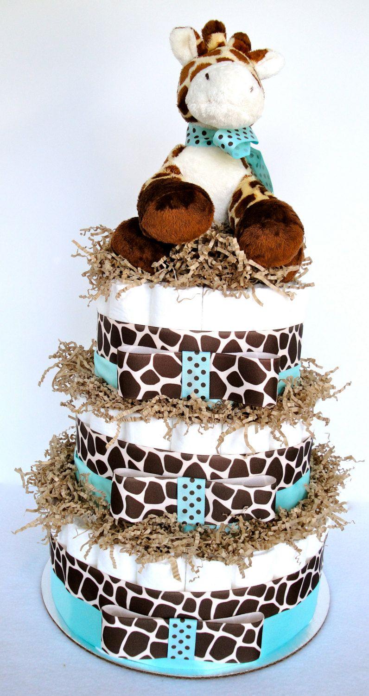 Diaper Cake   Giraffe Theme Blue U0026 Brown Baby Boy Shower Diaper Cake  Centerpiece Shower Decoration Gift