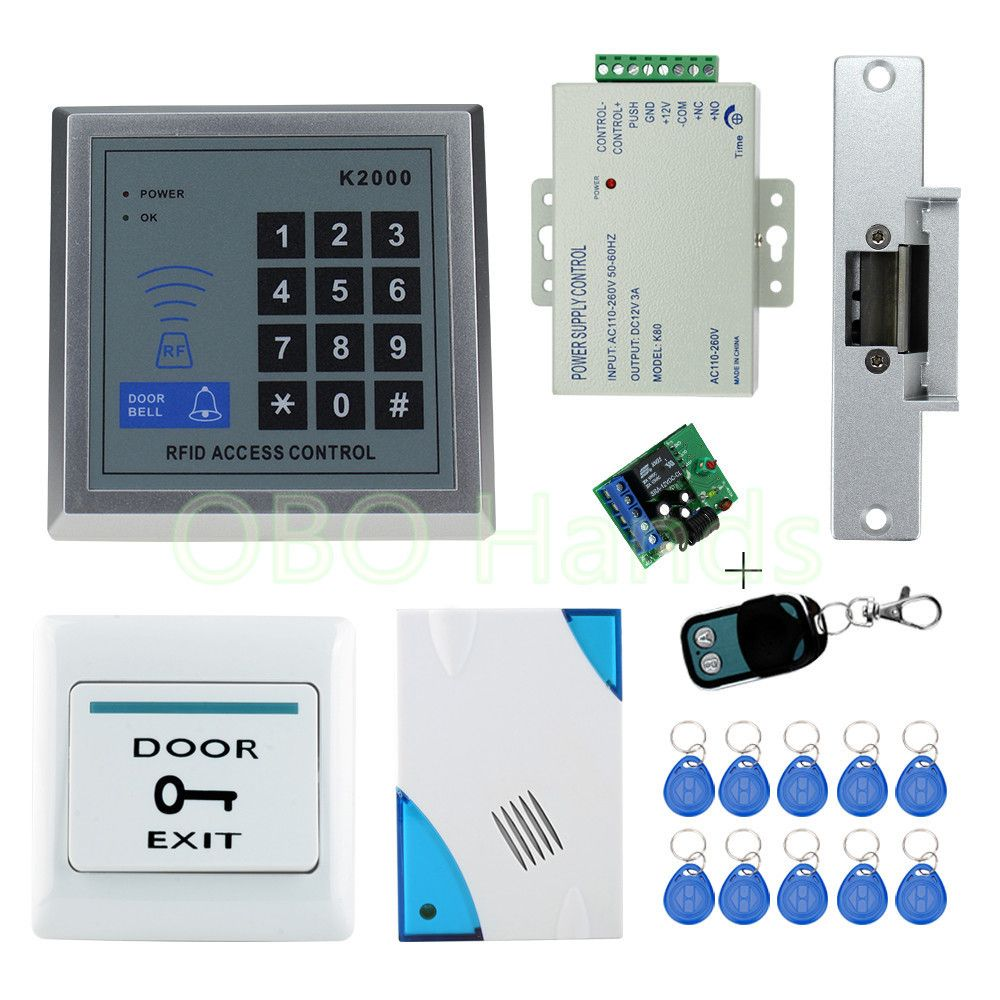 Rfid Access Control System Kit Set With Electric Strike Lock Remote Control Door Bell Power Exit Door Loc Access Control System Access Control Security Gadgets