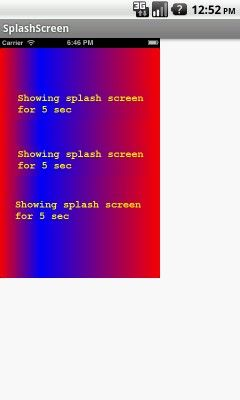 Splash screen is an activity that will show for set time when your app is starting and after set time period redirect to application main screen