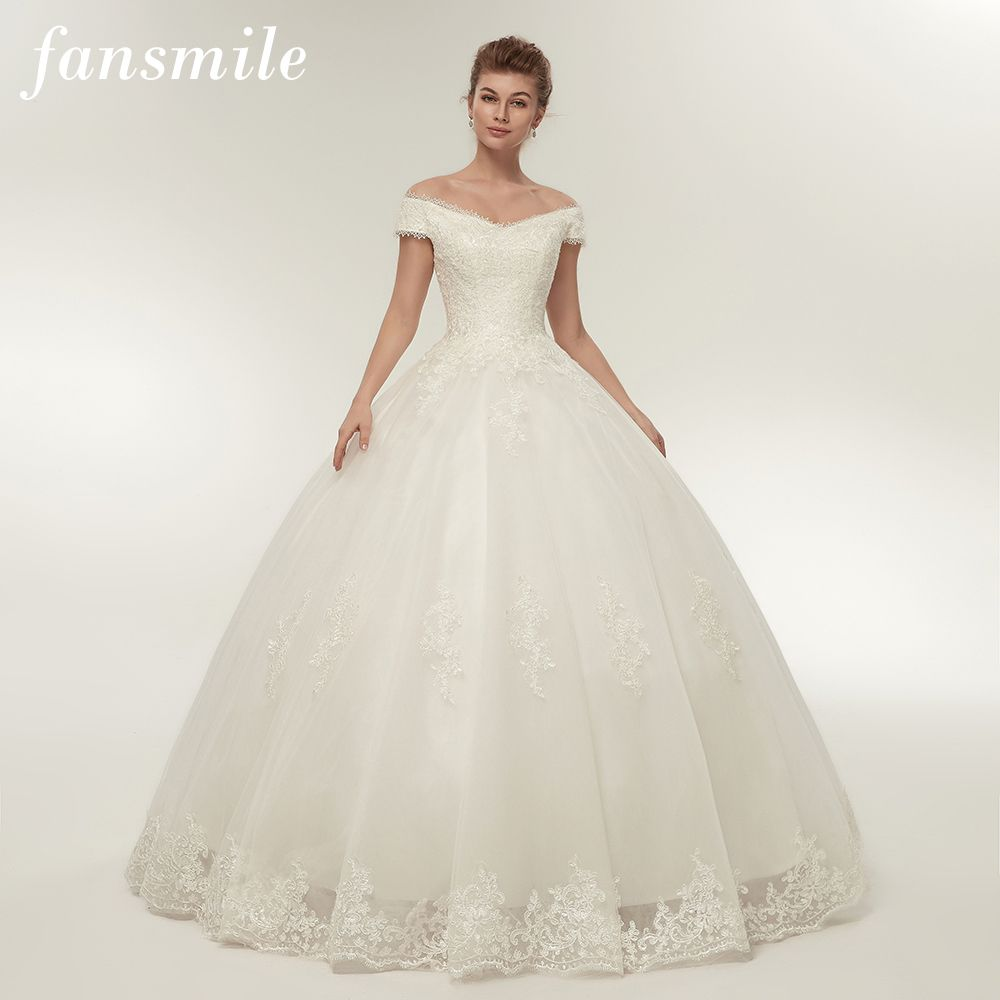 Aliexpress.com   Buy Fansmile Real Photo Simple Lace Up Ball Wedding Dresses  2017 Robe de Mariee Customized Plus Size Bridal Gowns FSM 344F from  Reliable ... ae12c1e7d261