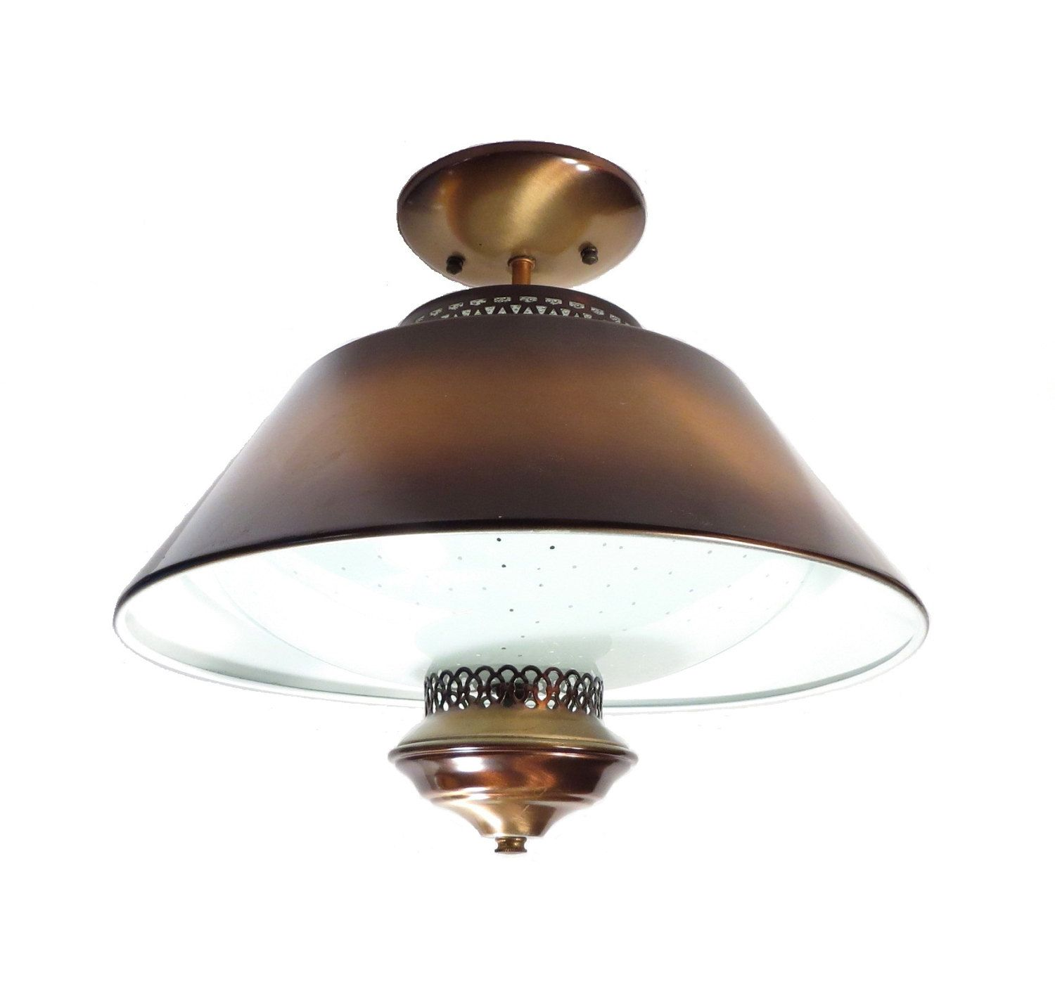 Copper Rustic Decor Ceiling Lamp Vintage 1950s Flush Mount Farmhouse Kitchen Light Fixture by
