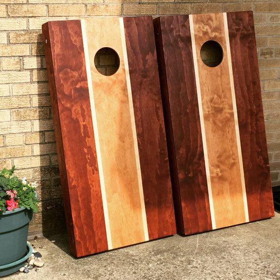 Custom Stained 3 Color Striped Cornhole Boards By
