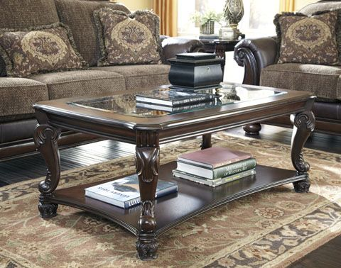 Norcastle Traditional Dark Brown Wood Glass Rectangle Coffee Table