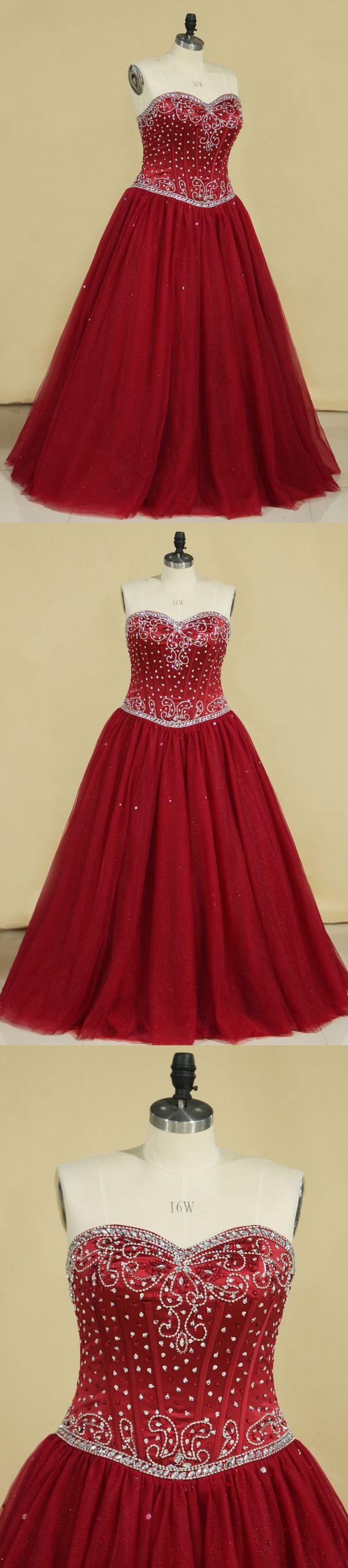 2019 Ball Gown Sweetheart Tulle With Beading Quinceanera Dresses