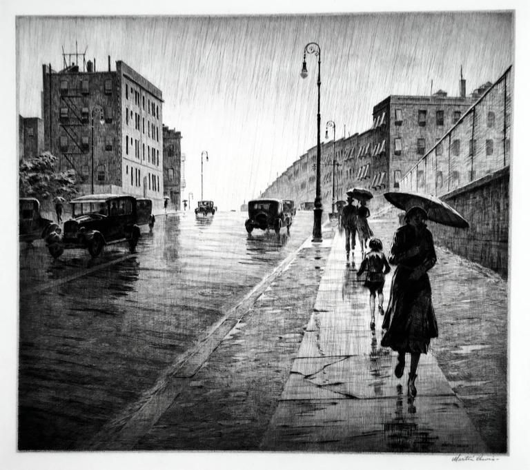 A Rainy Day In New York Bern Martin Lewis Rainy Day Queens In 2020 Landscape Prints Drypoint Etching American Art