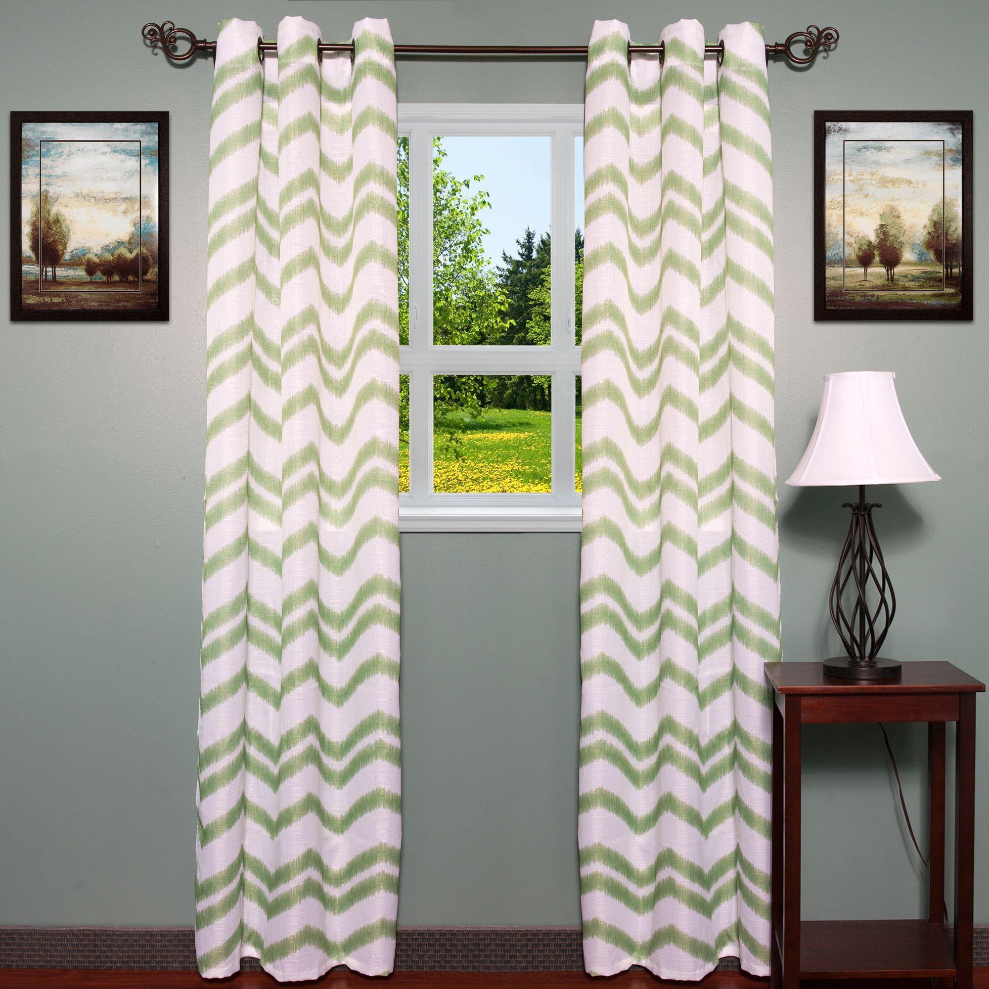 Jacquard Chevron Pattern Grommet Curtain Panel (Set Of 2) (Sage),