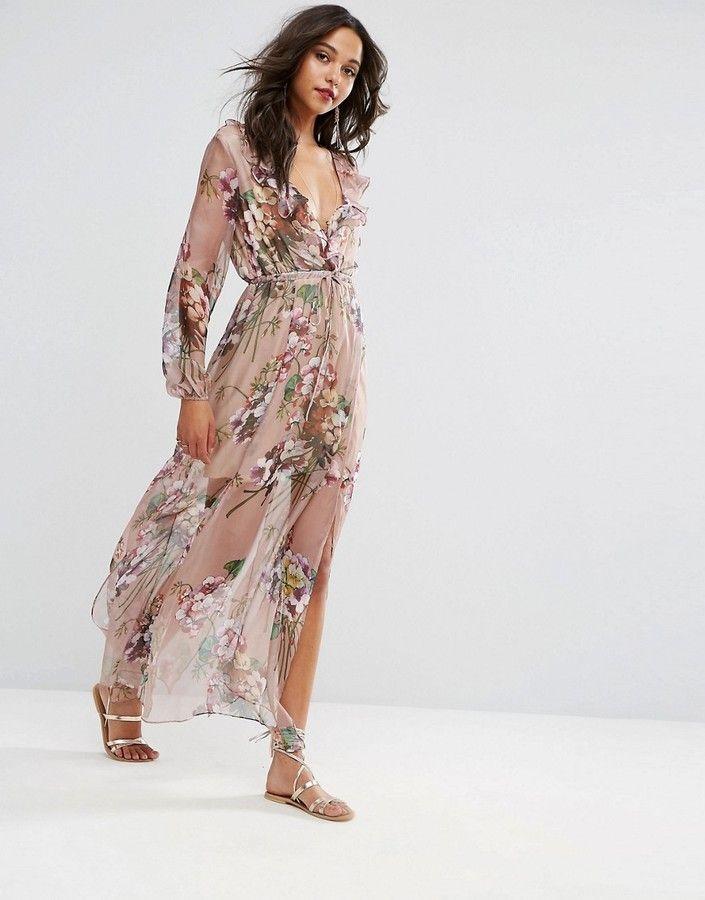 60ca35313c8 Boohoo Floral Print Tie Waist Maxi Dress. Boohoo Floral Print Tie Waist  Maxi Dress Summer Wedding Outfits ...