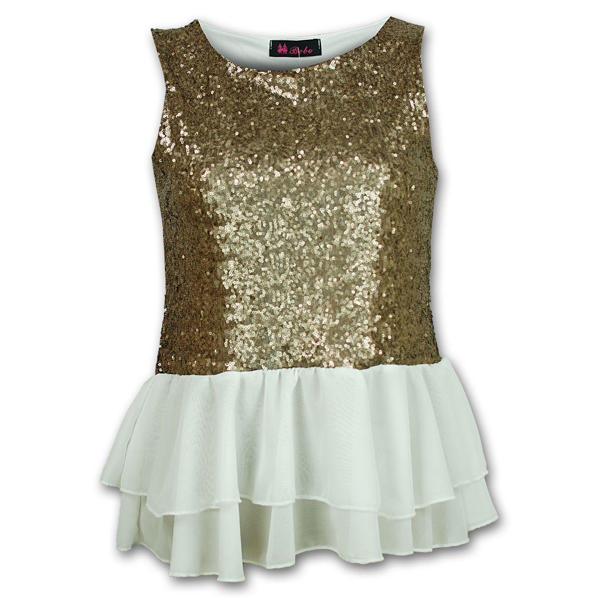 Ladies Top Womens Dress Sequin Pattern Peplum Frill Chiffon Sleeveless Party | eBay