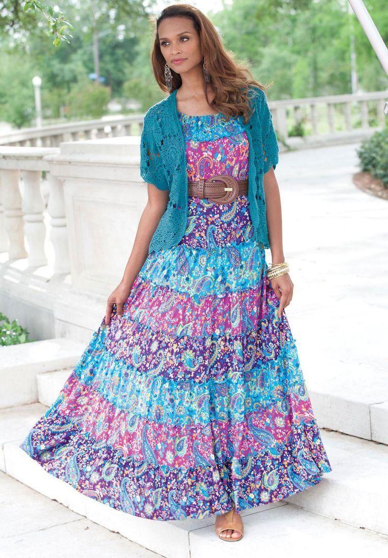 Jessica london plus size tiered maxi dress plus size