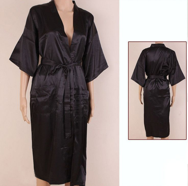 Navy Blue Men Sexy Silk Rayon Kimono Bathrobe Gown Chinese Style Male Robe  Nightgown Sleepwear Plus Size S M L XL XXL XXXL MR006 97c350f92