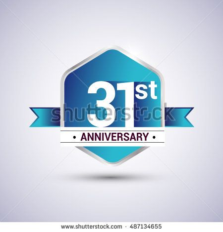 Template Logo 31st anniversary celebration. Blue and silver colored ...