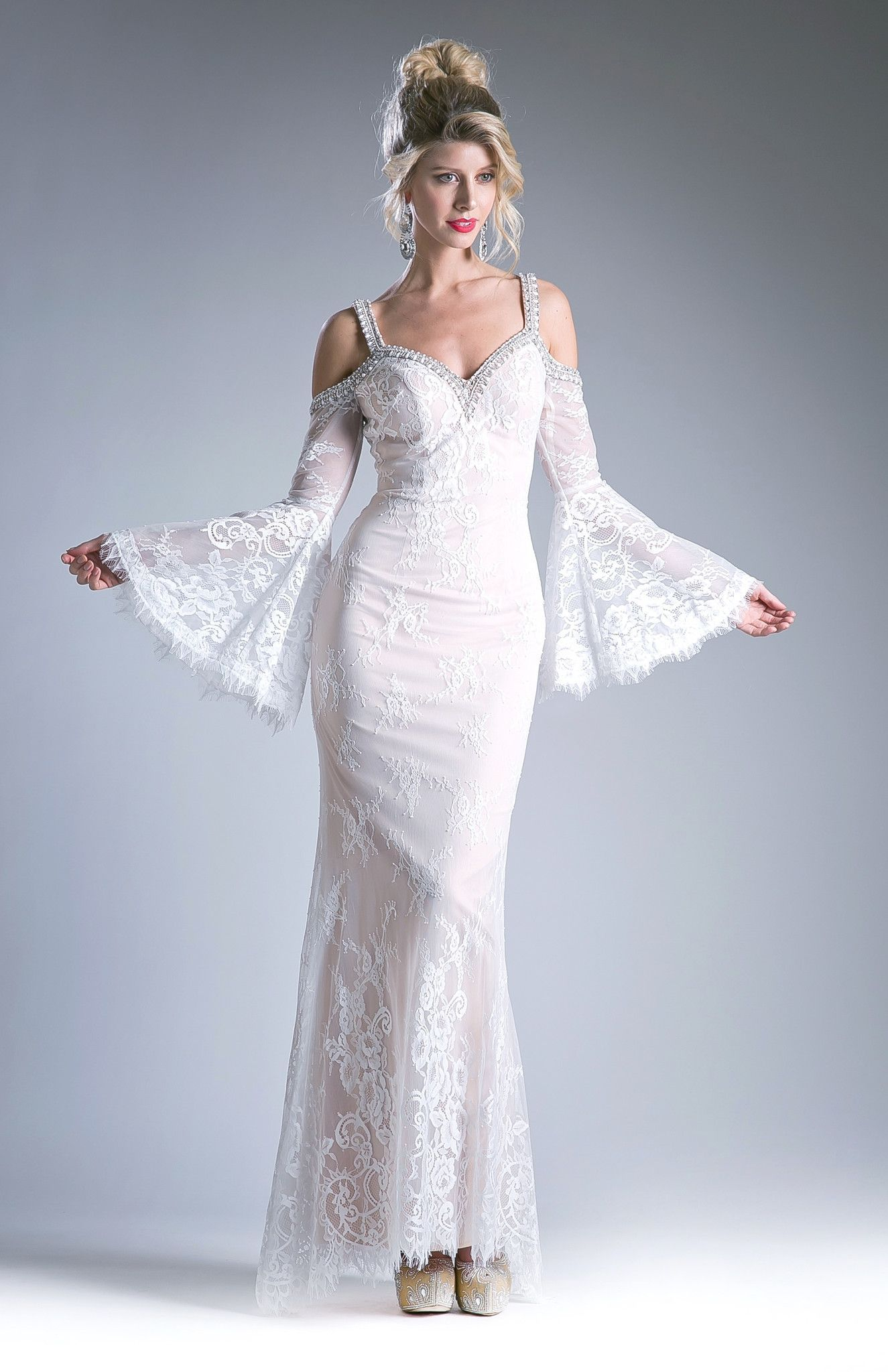 Lace evening dress with bell sleeves by cinderella divine
