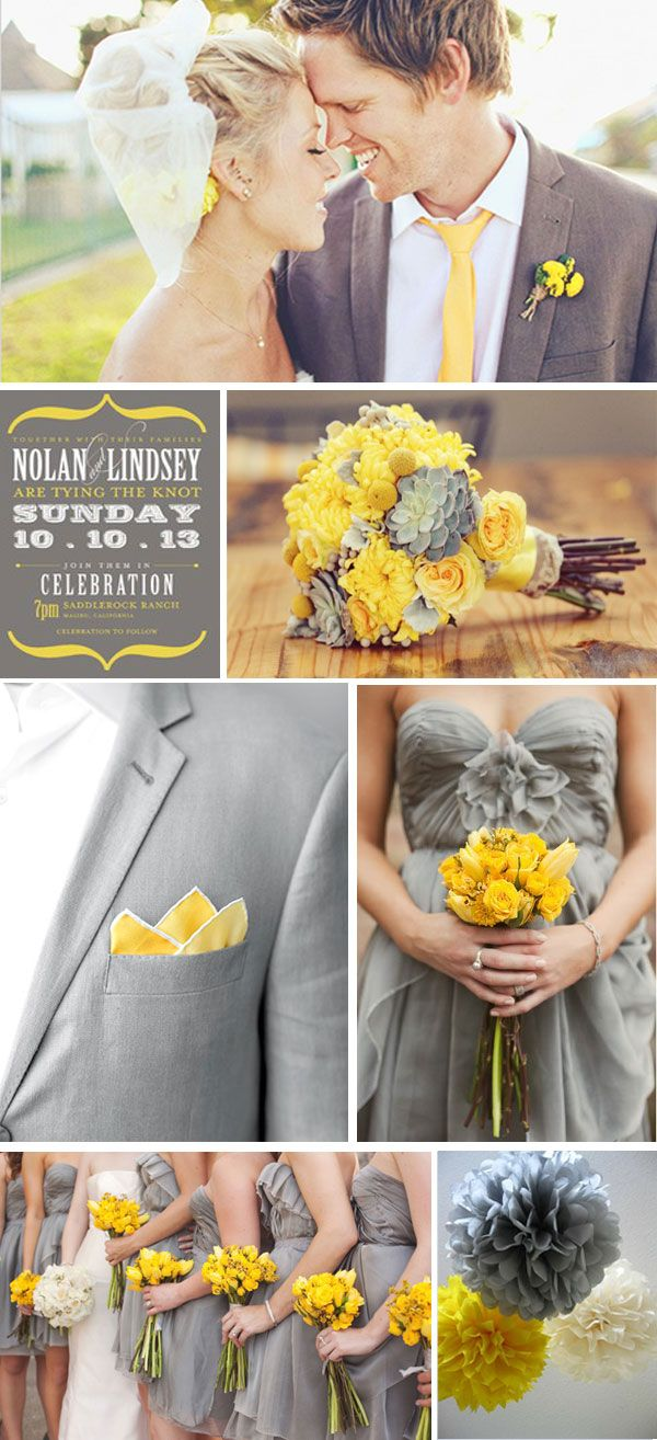 Wedding decorations yellow and gray  YELLOW  GREY wedding inspiration  Colour Themes  Pinterest  Grey