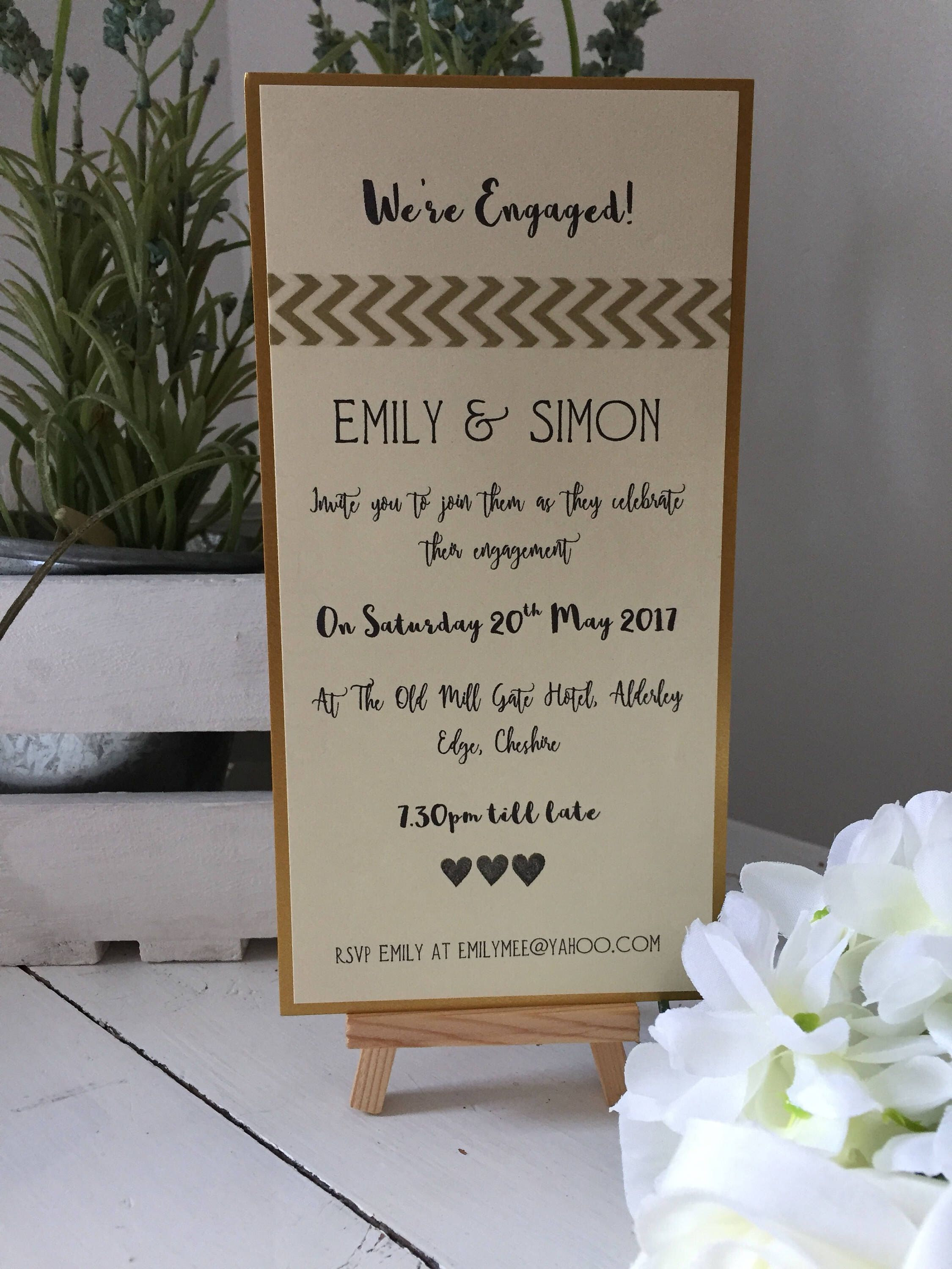 10 gold Handmade And Personalised engagement party invitations ...