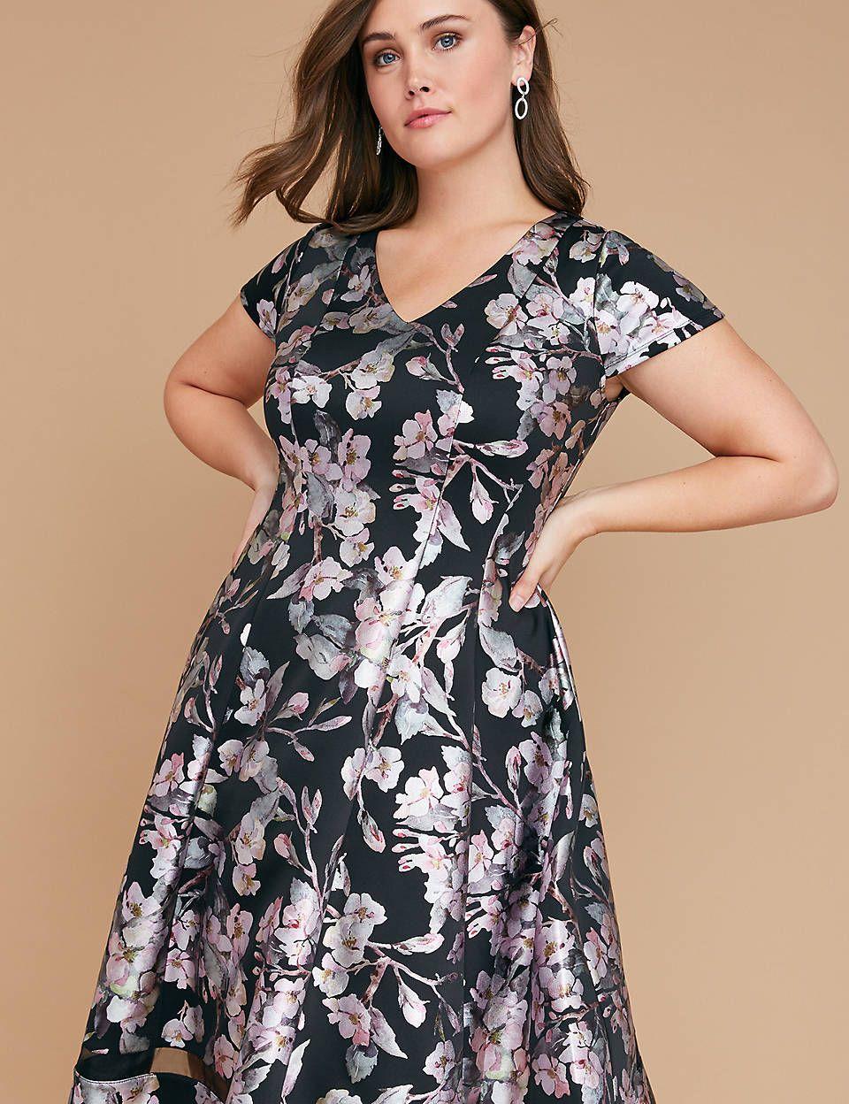 Foil Floral Print Fit & Flare Dress | Lane Bryant | Eva Kay Serres ...
