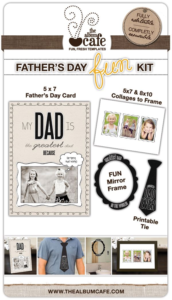 Adorable Free Father\'s Day Printable Cards & Photoshop Templates by ...