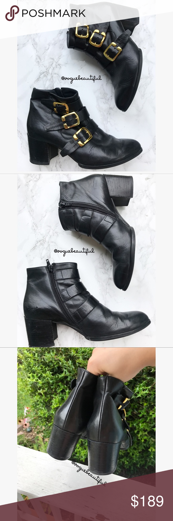 Paul Green Black Leather Buckle Boots and made of