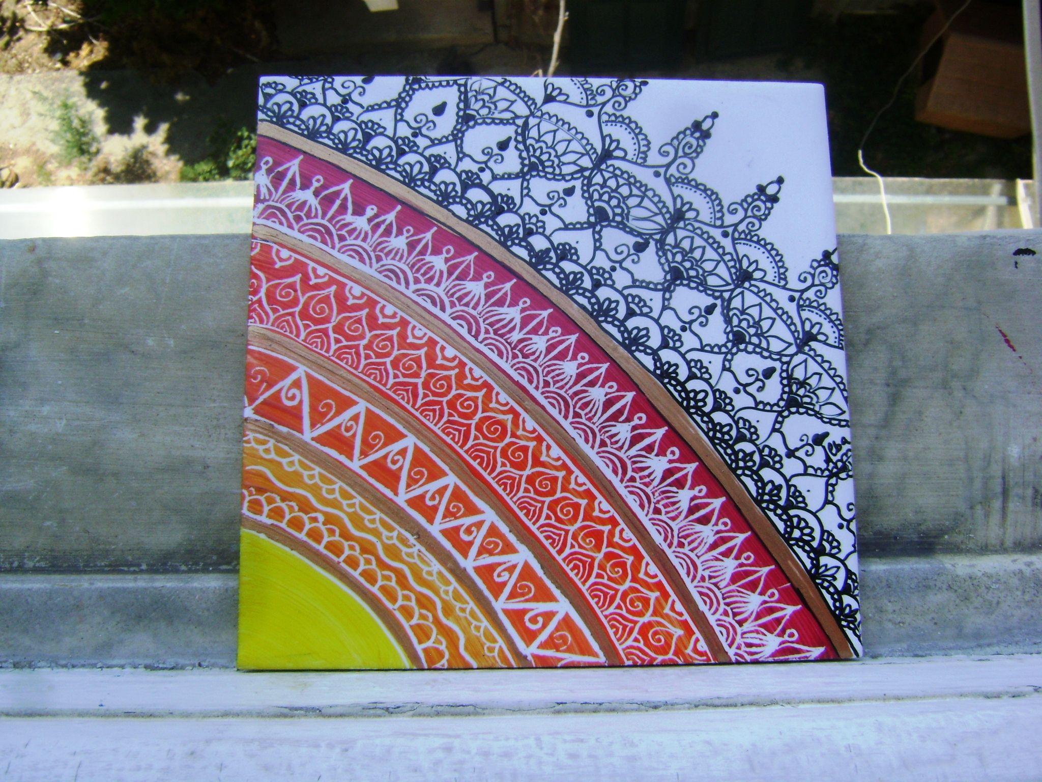 Pittura Su Piastrelle Di Ceramica : Mandala su piastrella piastrelle dipinte a mano piastrelle