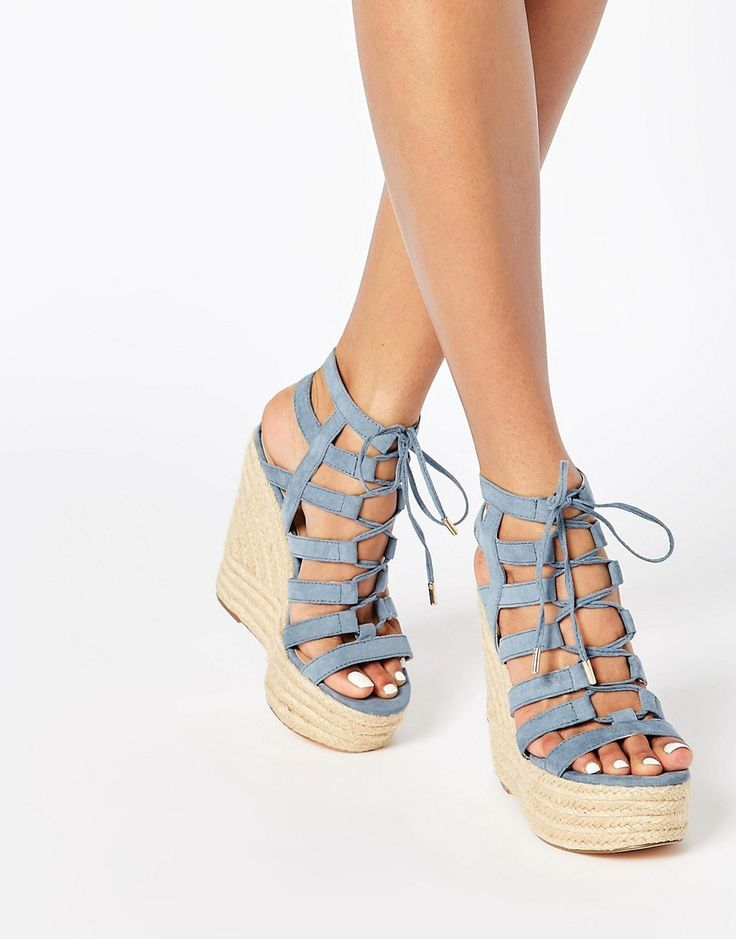 b53302a2187881 Caged Tie Up Wedge Sandals are a total summer must have! love this  espadrille take on the trend