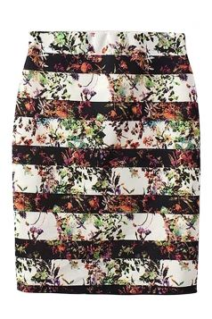 5244e5492d Black #Pretty Ladies #Stripe #Flower #Printed #Pencil #Midi #Skirt ...