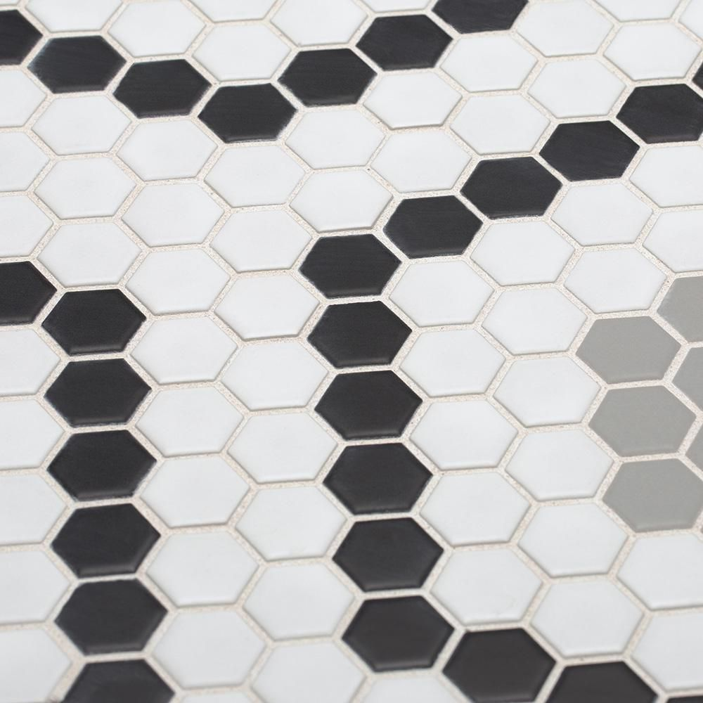 Jeffrey Court Hex Circuit White Honeycomb 15 5 In X 11 75 In X 6 Mm Matte Porcelain Mosaic Floor And Wall Tile 96602 The Home Depot Porcelain Mosaic Jeffrey Court Porcelain Mosaic Tile