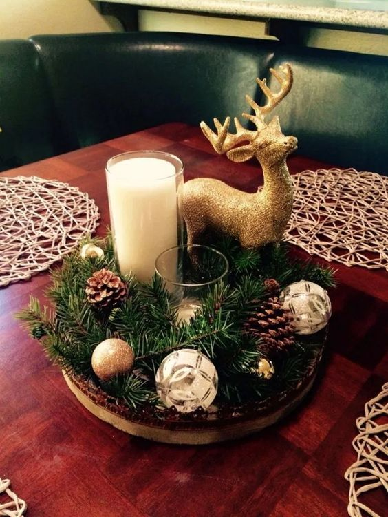 100 Cheap And Easy Christmas Centerpiece Ideas That You Can Make In A Jiff H In 2020 Christmas Table Decorations Woodland Christmas Decor Christmas Centerpieces Diy