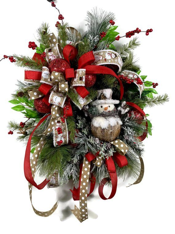 Large holiday front door wreath snowman wreath for front - Oversized exterior doors for sale ...